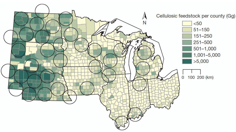 This map shows the potential biomass collection within 10 states. Each circle represents an area of about 7,800 square miles, which could produce about 23 million gallons of ethanol per year. A gigagram, or Gg, is about 1,100 tons. (Nature)