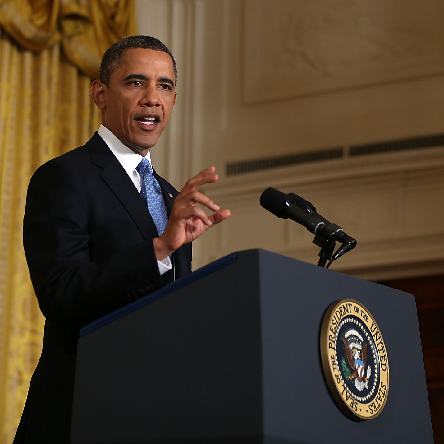 President Obama during his news conference at the White House on Monday.