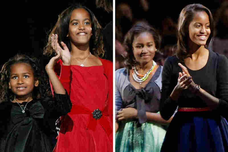 It's not just the presidents who can change a lot in four years. First daughters Sasha and Malia Obama were 7 and 10 on Election Day 2008 (left). Now, they are 11 and 14 (shown on Election Day 2012, right).