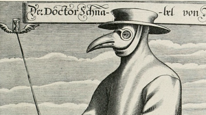 A copper engraving from 1656 shows a plague doctor in Rome wearing a protective suit and a mask.