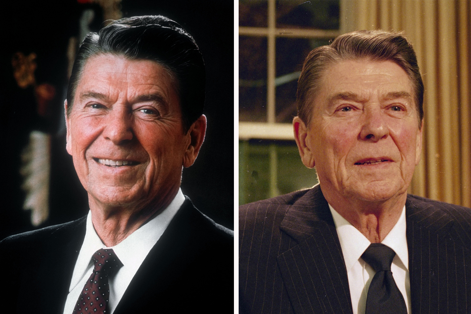 President Ronald Reagan posed for an official White House photo during his first year in office (1981, left). On right, he spoke to the nation early in his second term, in February 1986.