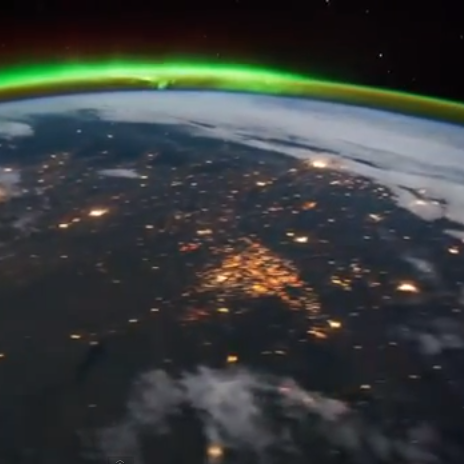 Looking down form the  International Space Station you can see  the North Dakota oil fields on the left of the image.