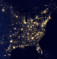 The United States at night.