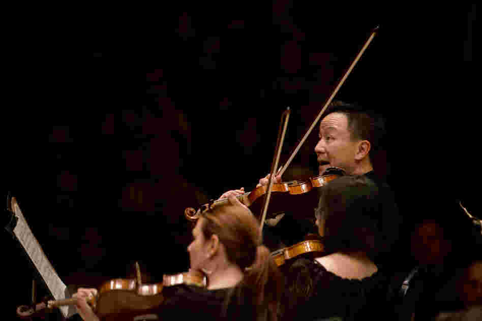 Concertmaster David Kim heads up the Philly string section with enthusiasm in Maurice Ravel's orchestral showpiece, La Valse.