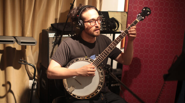 Sean Lennon in the studio, during production of the Alter Egos soundtrack.
