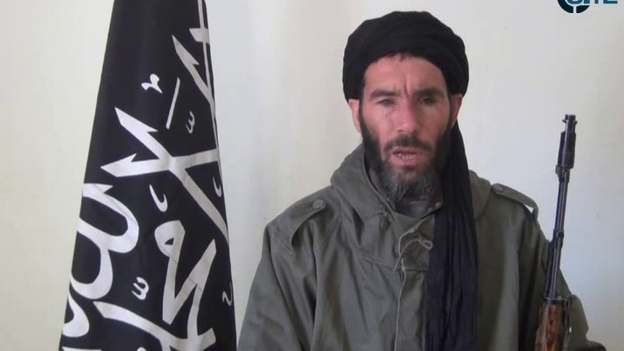 This image from video provided by the SITE Intel Group made available Thursday Jan. 17, 2013, purports to show militant militia leader Mokhtar Belmokhtar. News reports say he may have been responsible for the Western hostages' being taken at a gas plant in Algeria. (AP)