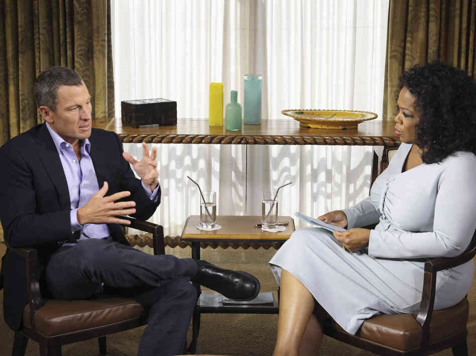 Oprah Winfrey talks to cyclist Lance Armstrong in Austin, Texas, on Monday. The first part of the interview airs Thursday night.