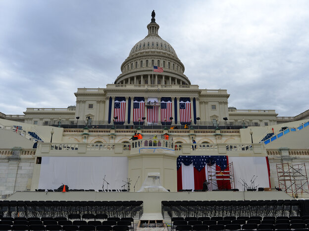 Preparations continue on the U.S. Capitol for the second inauguration of President Barack Obama in Washington, D.C., on Jan. 17, 2013.