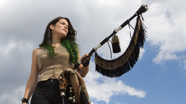On the new album Migrations, Cristina Pato plays the gaita, a bagpipe from her native region of Galicia in northwest Spain. (Courtesy of the artist)