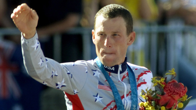 Lance Armstrong at the 2000 Sydney Olympic Games, celebrating his bronze medal performance. (AFP/Getty Images)