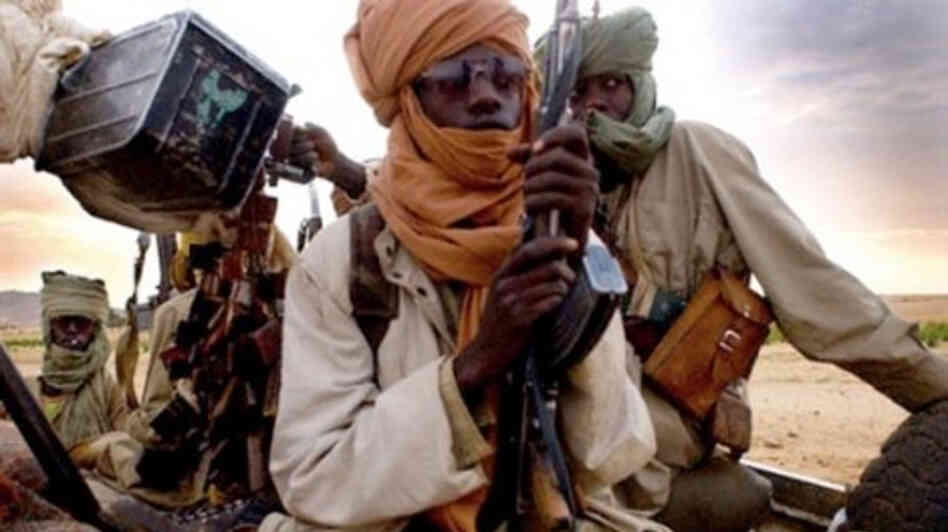 A picture taken with a mobile phone earlier this month purportedly shows Islamist insurgents in Gao, Mali.