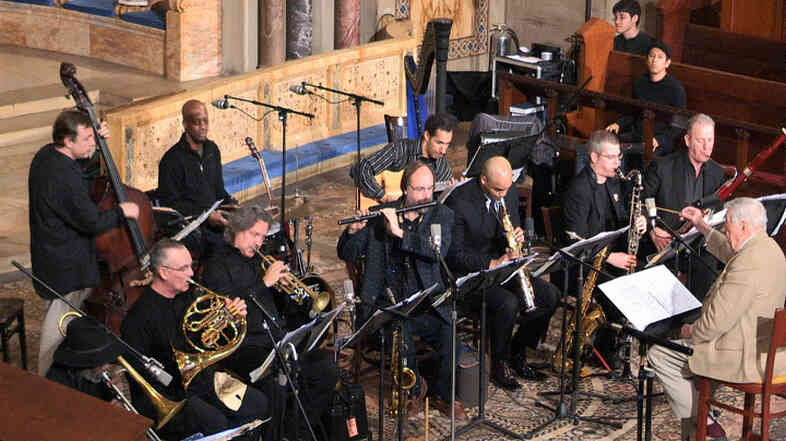 Gunther Schuller conducts the Mingus Orchestra at St. Bartholomew's Church.
