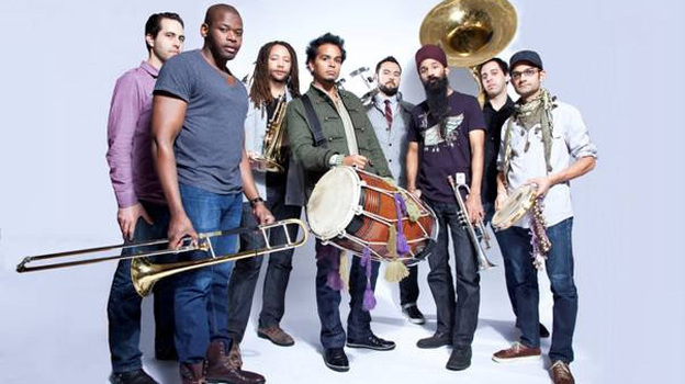 Sunny Jain (center, with drum) leads Red Baraat. The band's latest album, <em>Shruggy Ji</em>, came out this month.