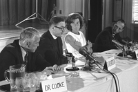 While the U.S. Supreme Court's Roe v. Wade decision of Jan. 22, 1973, is usually considered the start of the abortion debate, the move to relax state abortion laws began with medical and law professionals in the 1960s. Here, Eunice Kennedy Shriver and doctors from Johns Hopkins University and the Harvard Divinity School announce the International Conference on Abortion on Aug. 9, 1967.