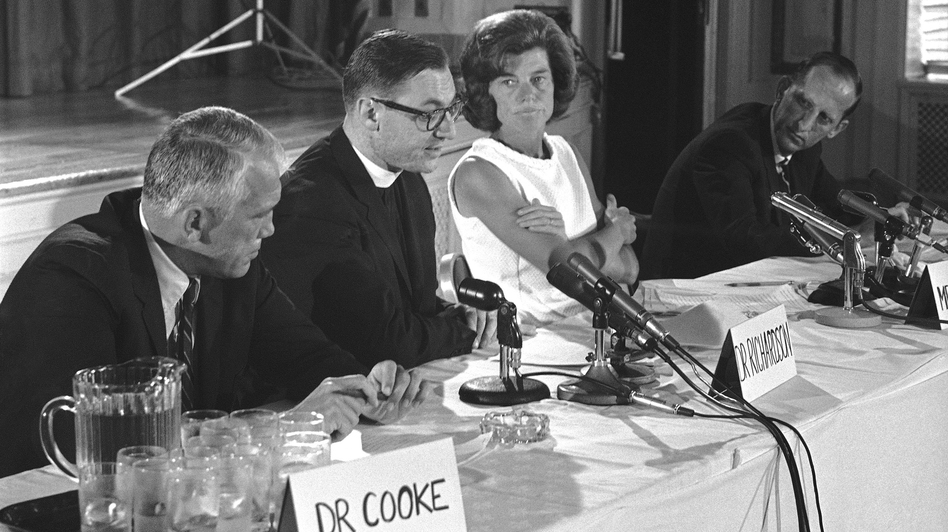 While the U.S. Supreme Court's Roe v. Wade decision of Jan. 22, 1973, is usually considered the start of the abortion debate, the move to relax state abortion laws began with medical and law professionals in the 1960s. Here, Eunice Kennedy Shriver and doctors from Johns Hopkins University and the Harvard Divinity School announce the International Conference on Abortion on Aug. 9, 1967. (AP)