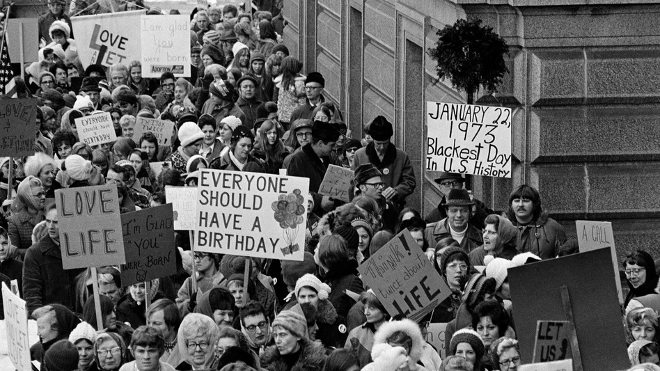 "On Jan. 22, 1973, the day of the court's decision, an estimated 5,000 women and men formed a ""ring of life"" around the Minnesota Capitol building and marched in protest of the ruling that ""abortion is completely a private matter to be decided by mother and doctor in the first three months of pregnancy."" (AP)"