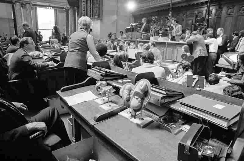 As soon as the Supreme Court's decision was announced, politicians at the state and federal levels moved to introduce a constitutional amendment and other legislative efforts to circumvent the ruling. Here, plastic models of human fetuses are displayed in the foreground while Wisconsin state Rep. Lloyd Barbee testifies on abortion bills at the Capitol in Madison, April 24, 1973.