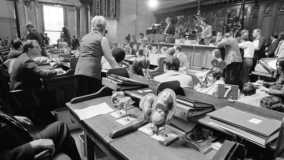 As soon as the Supreme Court's decision was announced, politicians at the state and federal levels moved to introduce a constitutional amendment and other legislative efforts to circumvent the ruling. Here, plastic models of human fetuses are displayed in the foreground while Wisconsin state Rep. Lloyd Barbee testifies on abortion bills at the Capitol in Madison, April 24, 1973. (AP)