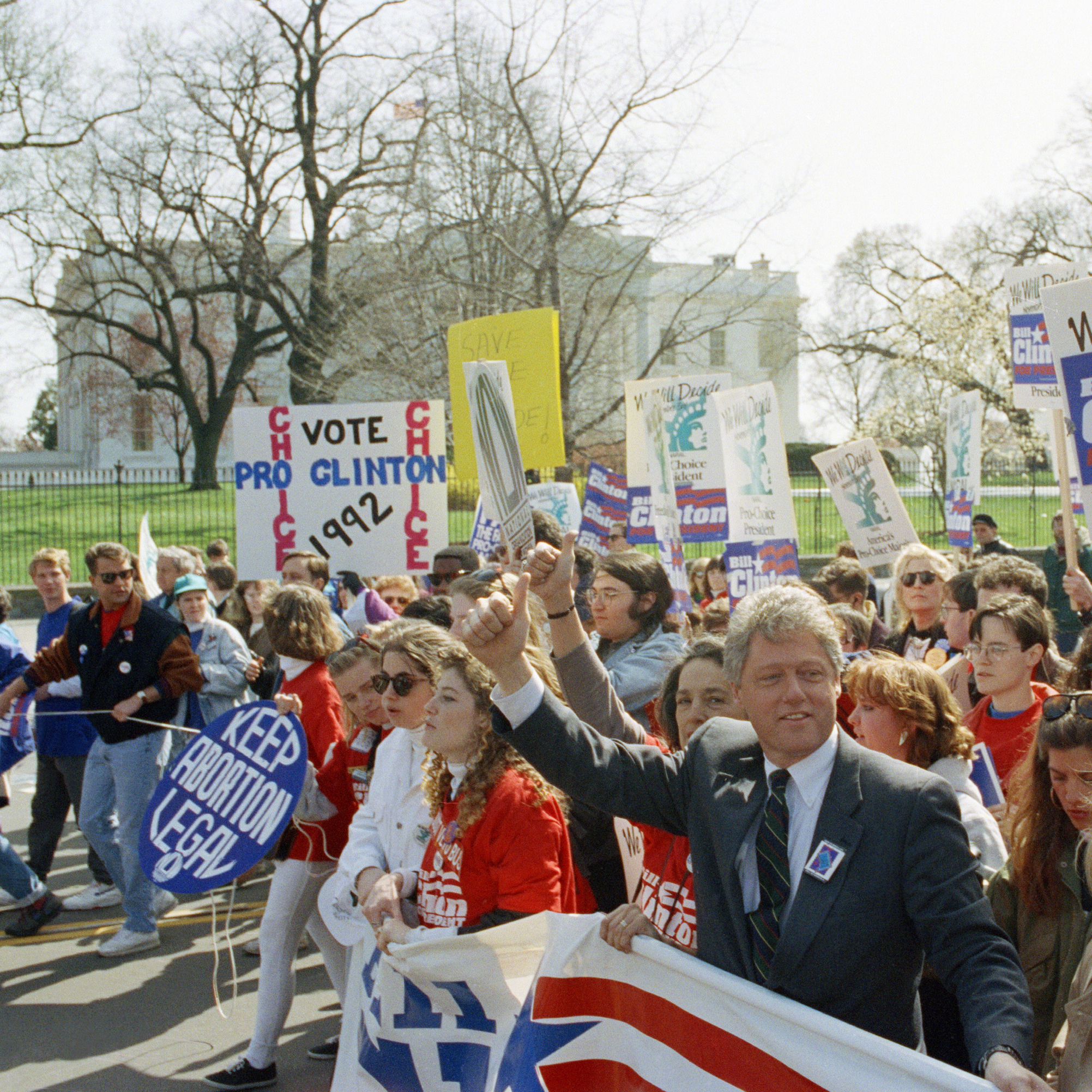 Democratic presidential candidate Bill Clinton marches with abortion-rights supporters past the White House, April 6, 1992. Although many positions vary at the state, local and even lower federal levels, Democrats at the national level have made abortion rights part of their party platform since 1976; Republicans began calling for Roe's overturn in their platform that same year.