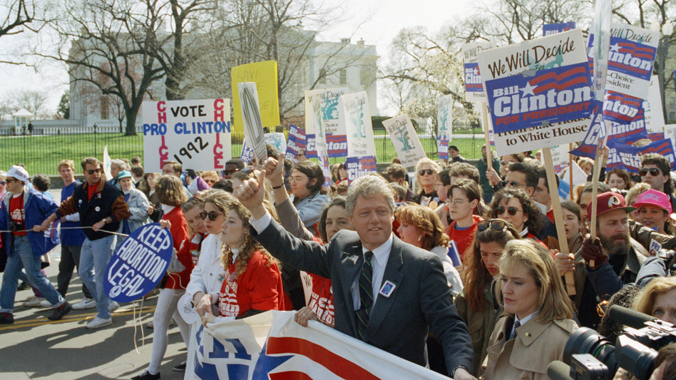 Democratic presidential candidate Bill Clinton marches with abortion-rights supporters past the White House, April 6, 1992. Although many positions vary at the state, local and even lower federal levels, Democrats at the national level have made abortion rights part of their party platform since 1976; Republicans began calling for Roe's overturn in their platform that same year. (AP)