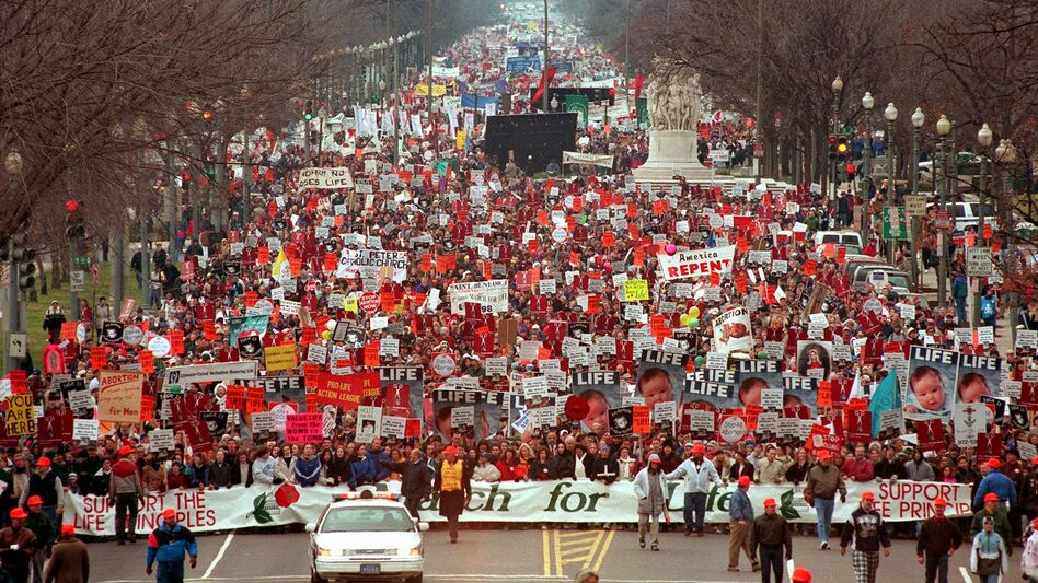 Each January, anti-abortion protesters mark the anniversary of the Roe v. Wade ruling with the March for Life in Washington, D.C. Attendance often reaches into the thousands, such as during the 25th anniversary march pictured here. The 40th March for Life on Jan. 25, 2013, will be the first without its founder, Nellie Gray, who died in August 2012. (AFP/Getty Images)