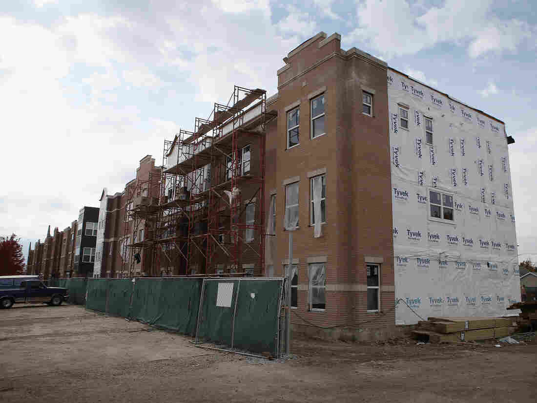 Going up in Chicago: Row houses under construction.