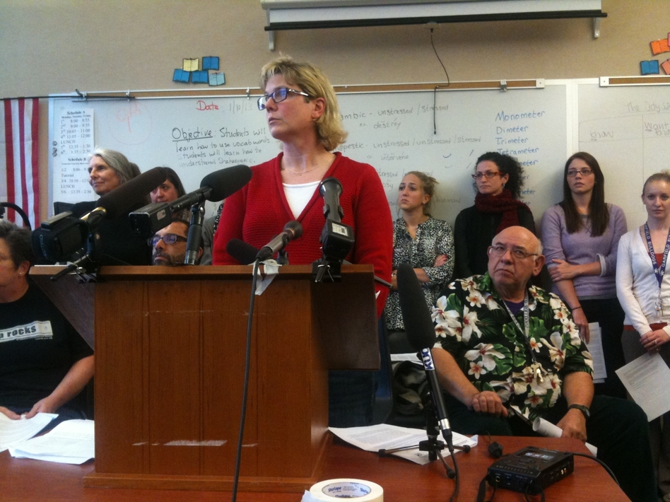 Garfield High School's academic dean and testing coordinator, Kris McBride, at a news conference announcing the teachers' boycott of the MAP test in Seattle on Jan. 10.