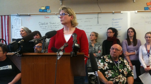 Garfield High School's academic dean and testing coordinator, Kris McBride, at a news conference announcing the teachers' boycott of the MAP test in Seattle on Jan. 10. (Ann Dornfeld for NPR)