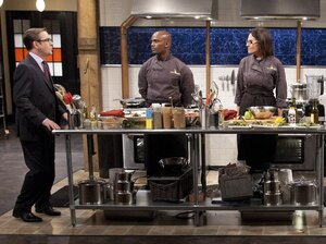Ted Allen addresses the chefs competing on the Chopped Holiday Special.