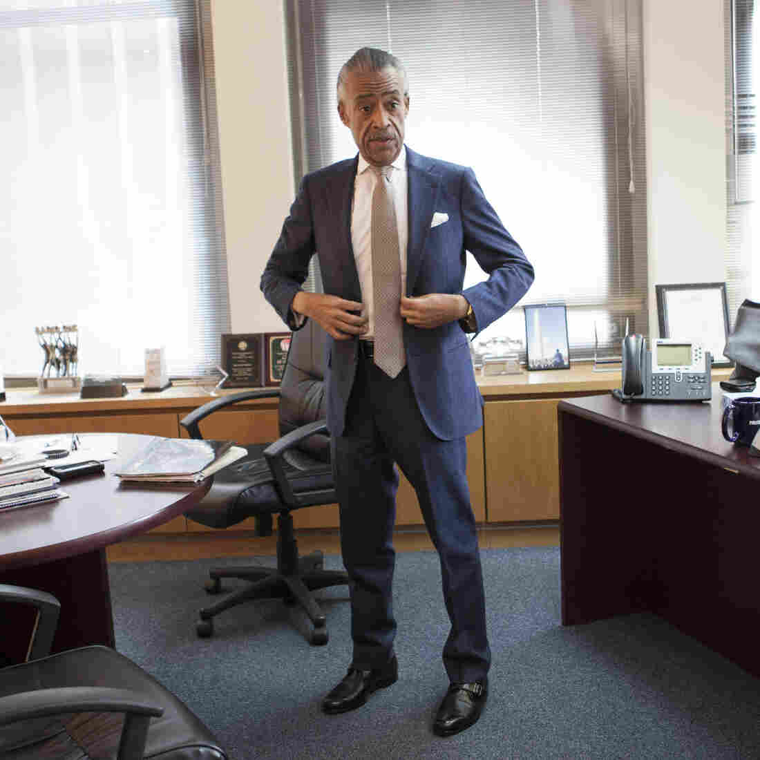 Rev. Al Sharpton, founder and president of National Action Network (NAN), prepares to leave its corporate office for the WWRL radio station in New York, January 11.
