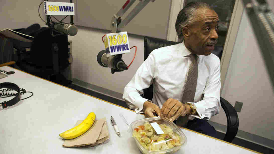 "Sharpton eats his lunch, which consists of a banana, salad, and lemon tea before his radio show ""Keeping It Real with Reverend Al Sharpton"" in New York."