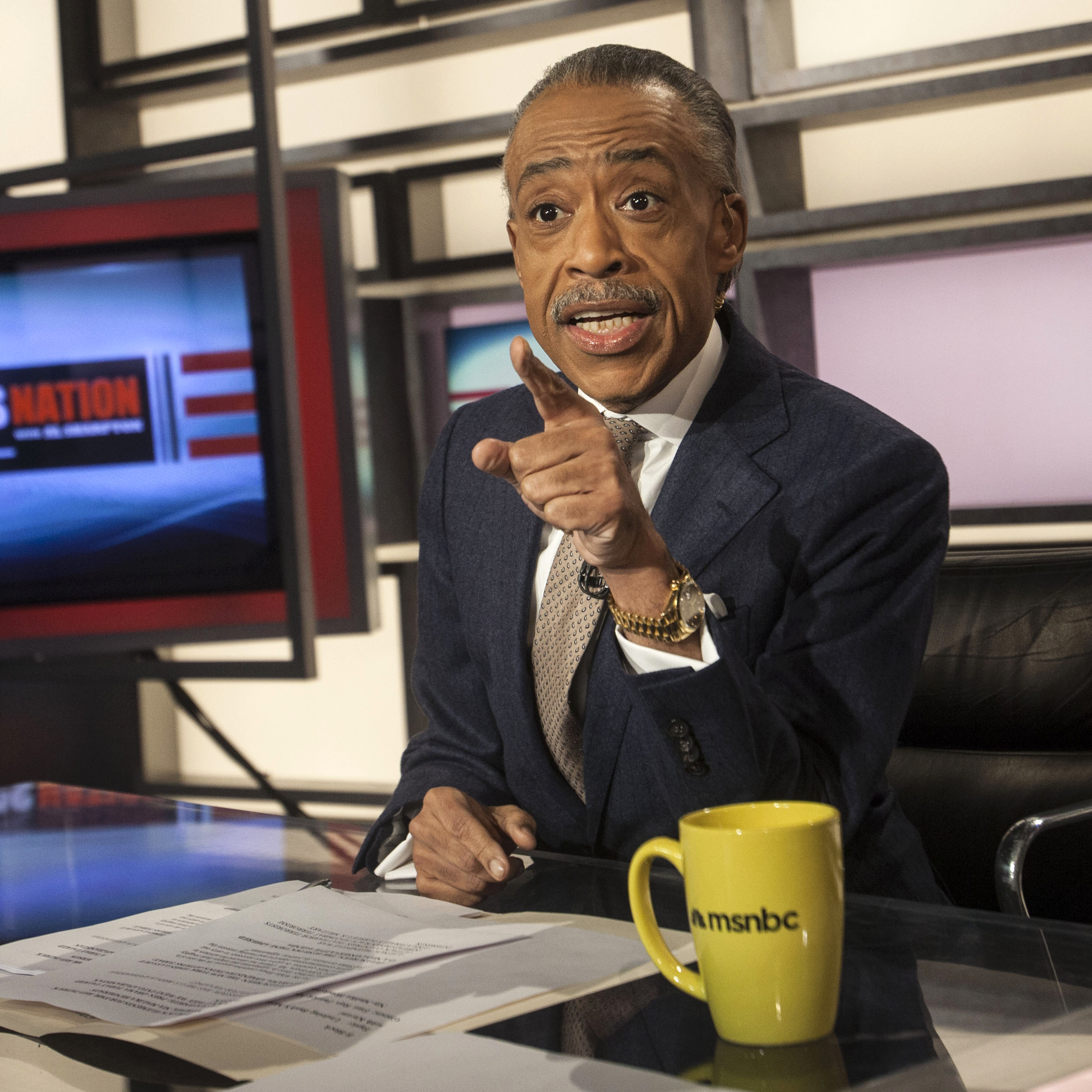 Sharpton hosts his show PoliticsNation, at the MSNBC studios in New York.