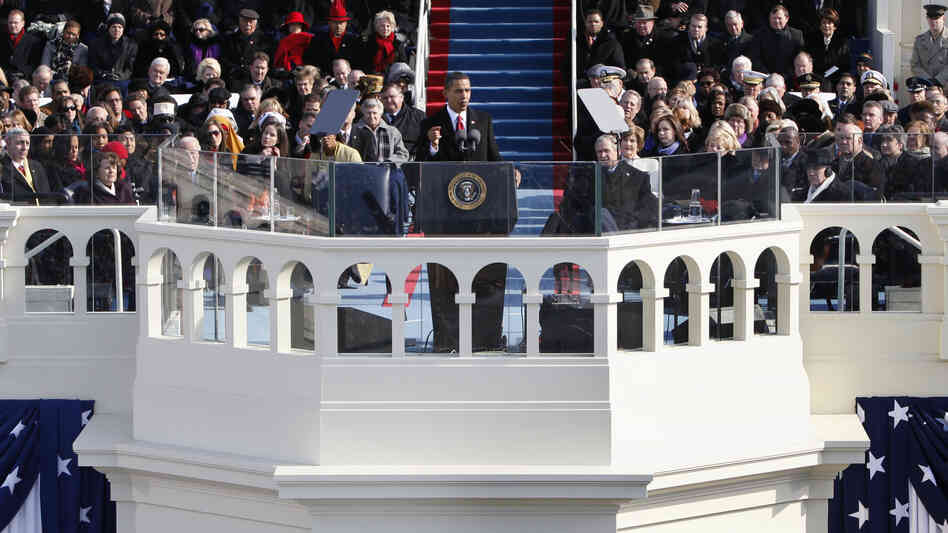 President Obama gives his first inaugural address on Jan. 20, 2009.
