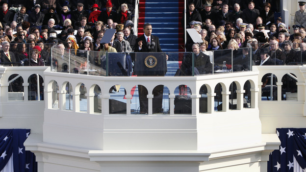 President Obama gives his first inaugural address on Jan. 20, 2009. (AP)