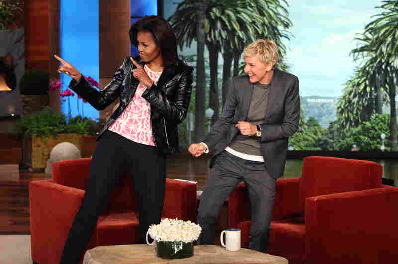 Hanging with celebrities: Talk show host Ellen DeGeneres and Michelle dance during a taping of The Ellen DeGeneres Show on Feb. 1, 2012, in Burbank, Calif.