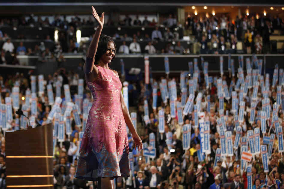 First lady: Michelle Obama waves after addressing the Democratic National Convention in Charlotte, N.C., on Sept. 4, 201