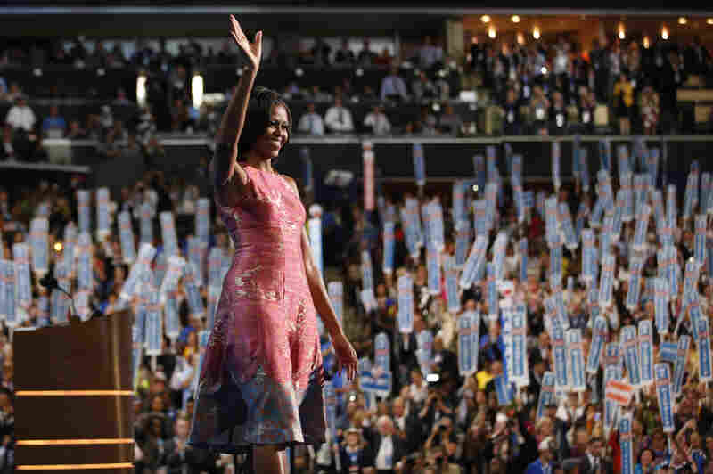 First lady: Michelle Obama waves after addressing the Democratic National Convention in Charlotte, N.C., on Sept. 4, 2012.