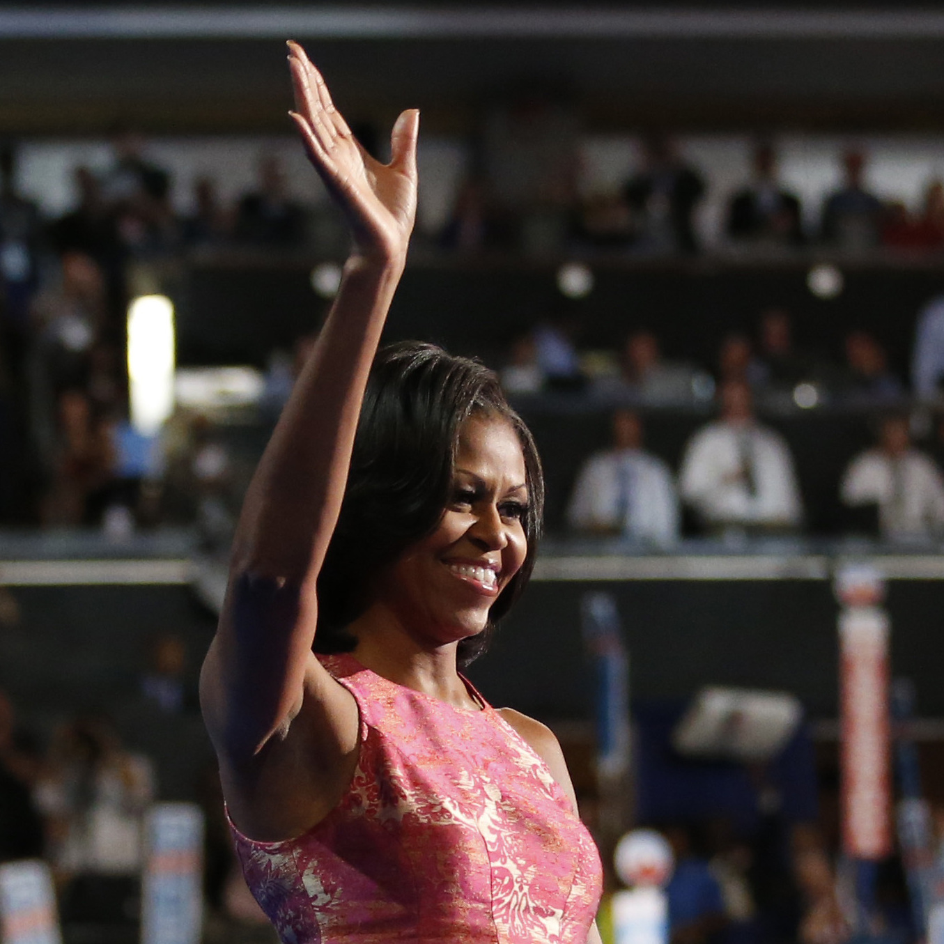 First lady Michelle Obama waves after addressing the Democratic National Convention in Charlotte, N.C., on Sept. 4.