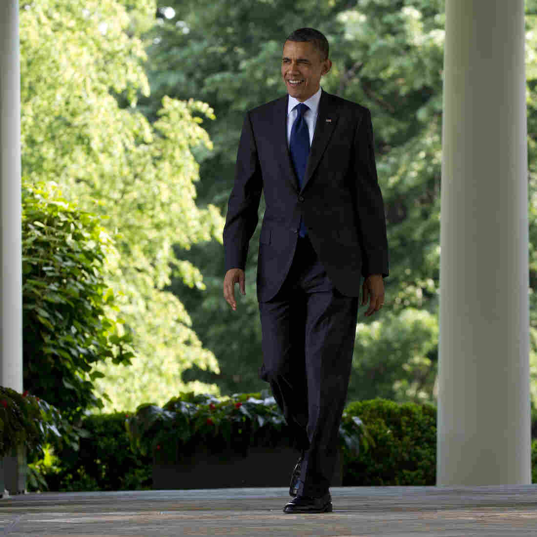 President Obama walks outside the Oval Office on May 3.