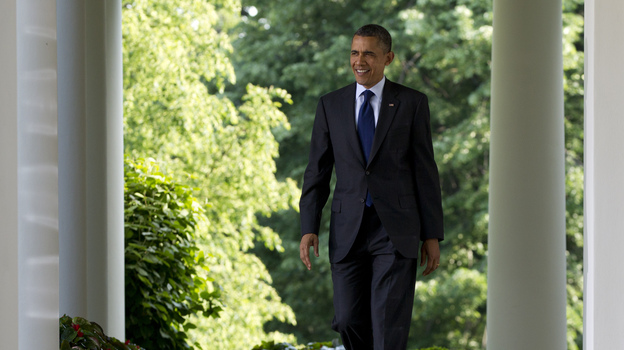 President Obama walks outside the Oval Office on May 3. (AP)