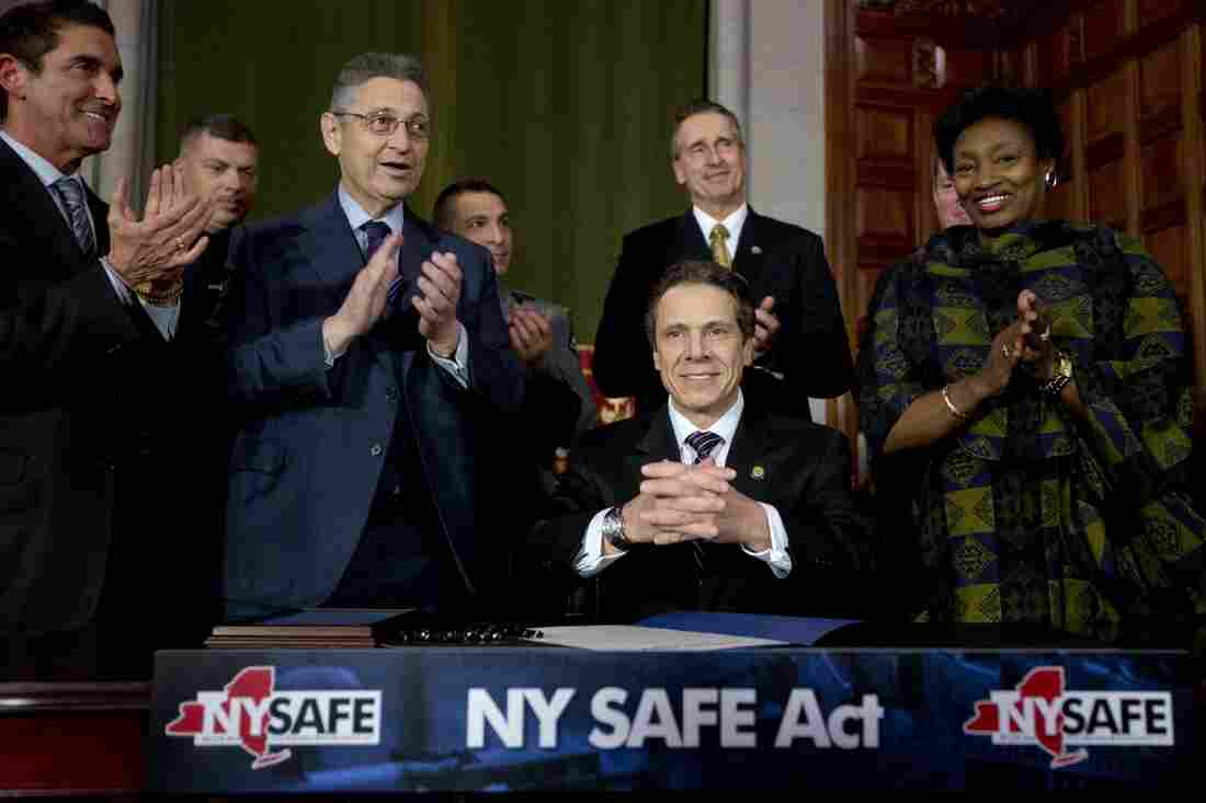 New York Gov. Andrew Cuomo signed a new gun control law in Albany on Tuesday. It's the nation's first gun law enacted since the December school shooting in Newtown, Conn.