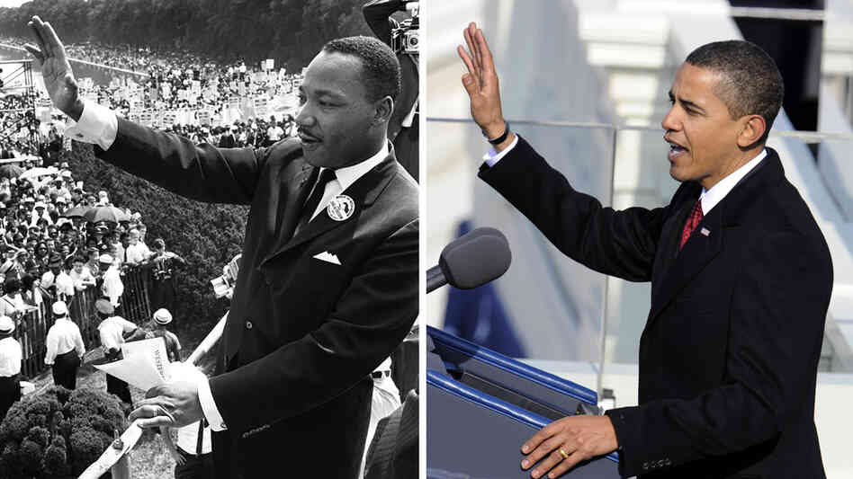 Martin Luther King Jr. waves to supporters during the 1963 March on Washington and President Barack Obama speaks at his first inauguration in 2009.