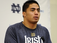 Notre Dame linebacker Manti Te'o speaks Nov. 29 after he received a sportsmanship award from the Awards and Recognition Association in South Bend, Ind.