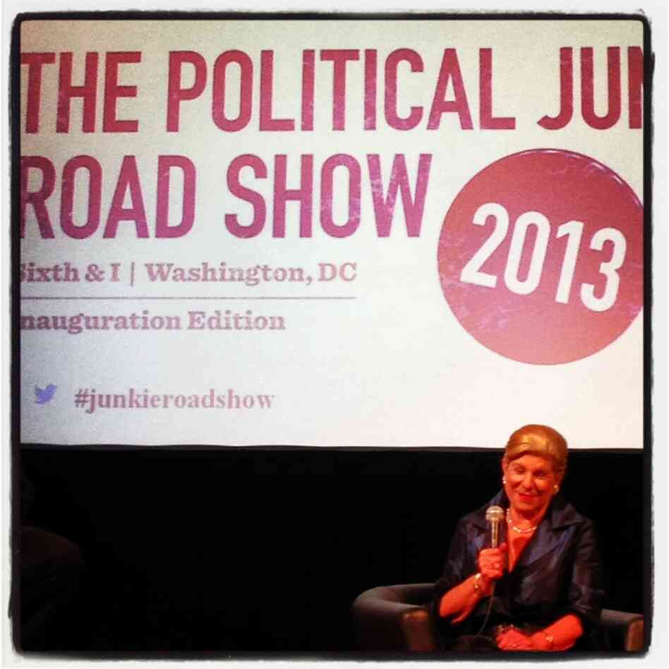 NPR Legal Correspondent Nina Totenberg on stage at the Sixth & ISynagogue for a pre-inauguration Political Junkie Road Show.
