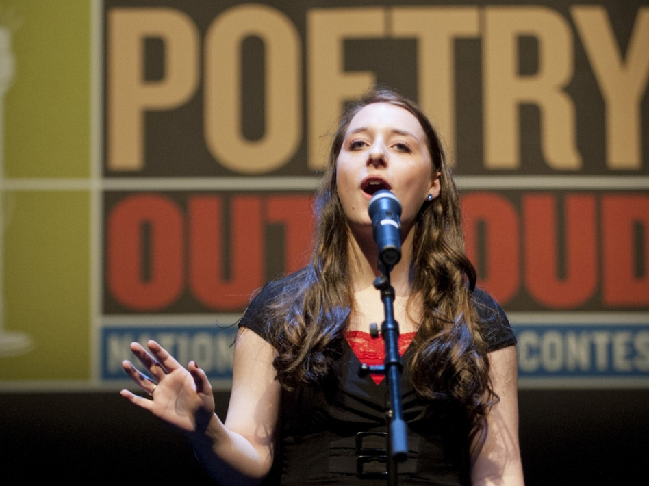 Emily Musette Hays performs in the 2012 Poetry Out Loud finals in Washington, D.C. The U.S. competition served as a model for the U.K.'s Poetry By Heart contest.