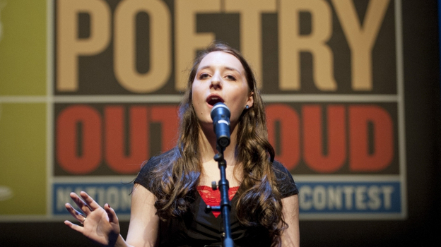 Emily Musette Hays performs in the 2012 Poetry Out Loud finals in Washington, D.C. The U.S. competition served as a model for the U.K.'s Poetry By Heart contest. (The Poetry Foundation)