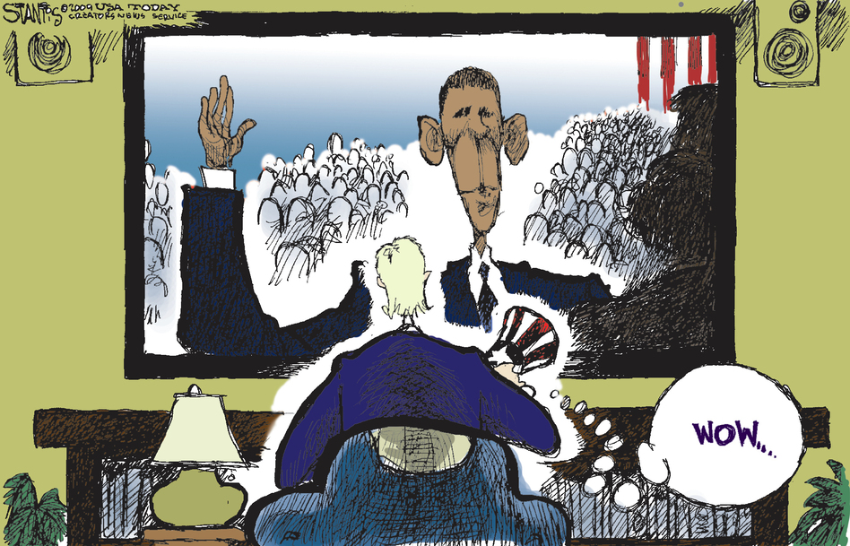 Scott Stantis calls himself a conservative, and his cartoons frequently criticize President Obama. But for the inauguration in 2009, he simply chose to mark the moment as historic. (Courtesy of Scott Stantis)