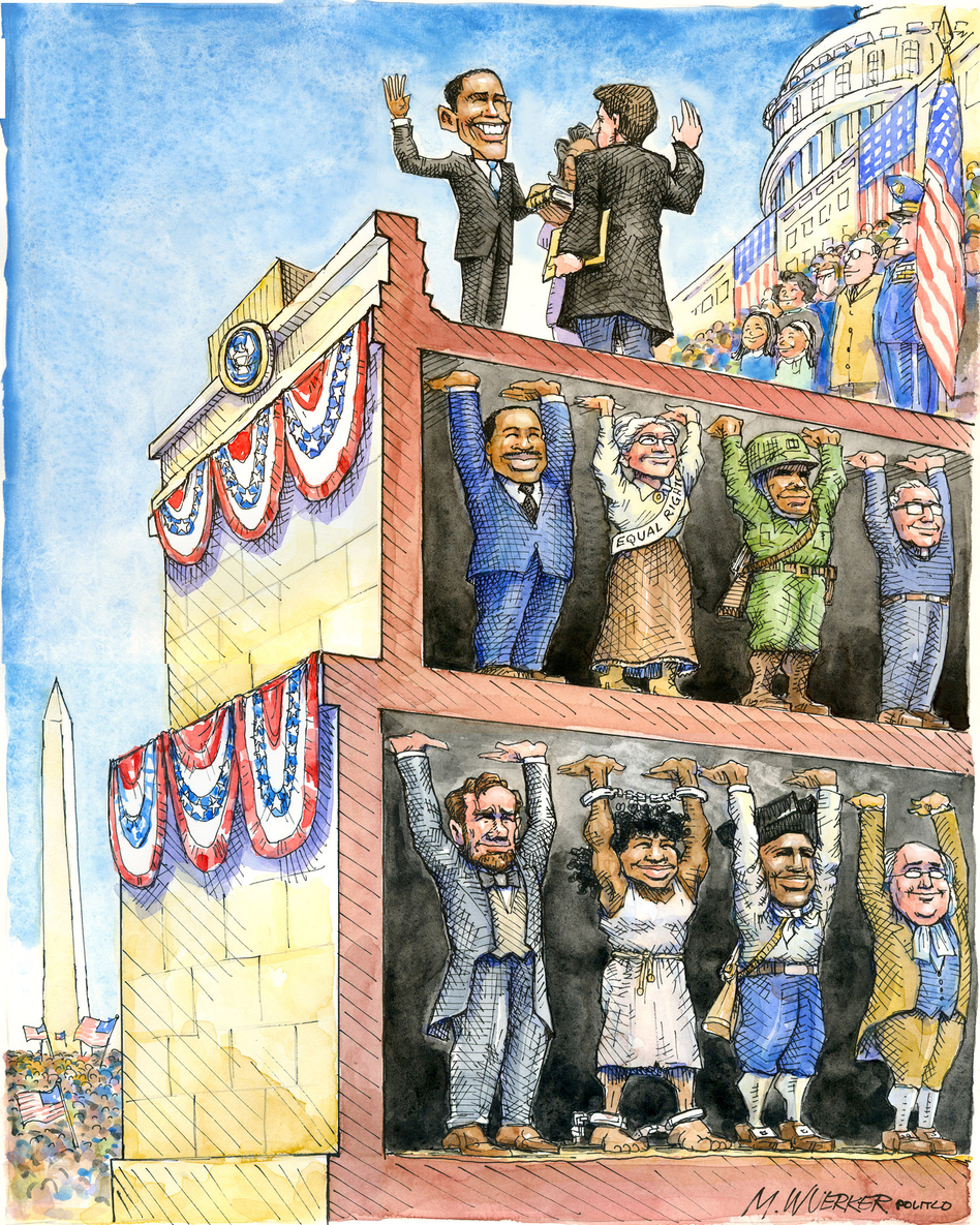 """Matt Wuerker borrowed the concept of """"œstanding on the shoulders of giants"""" in his cartoon for the inauguration in 2009. (Courtesy of Matt Wuerker/Politico)"""