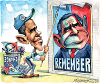 "For editorial cartoonists, Obama's ears are his signature. In some depictions, they've grown throughout the years, but Matt Wuerker says cartoonists have gotten lazy. ""We did the same thing to George W. Bush. By the end of his administration he was just Dumbo."""