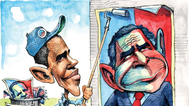 "For editorial cartoonists, Obama's ears are his signature. In some depictions, they've grown throughout the years, but Matt Wuerker says cartoonists have gotten lazy. ""We did the same thing to George W. Bush. By the end of his administration he was just Dumbo."" (Courtesy of Matt Wuerker/Politico)"